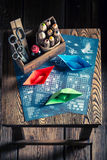Vintage battleship paper game for two players Royalty Free Stock Photos