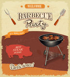 Vintage BBQ banner. Barbecue party best steak in town Royalty Free Stock Images