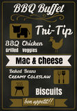 Vintage BBQ party menu poster design with  meat, beef. chicken Stock Images