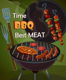 Vintage BBQ poster Royalty Free Stock Photography
