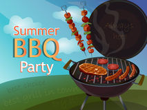 Vintage BBQ poster Stock Images