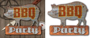 Vintage BBQ Sign on Old Wood Background. Vintage BBQ Party Invitation on Old Wood Background with cattle brand barbecue fork sauce lid and sauce stock illustration
