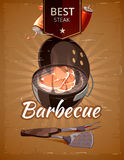 Vintage BBQ vector poster Royalty Free Stock Image