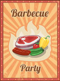 Vintage BBQ vector poster. Grill restaurant barbecue, steak hot food illustration Royalty Free Stock Photography