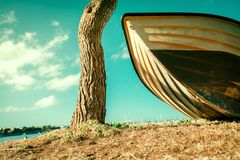 Vintage Beach Background.Boat on the beach Royalty Free Stock Image