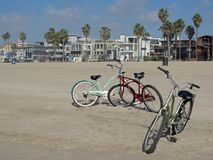 Vintage beach cruiser cycles at beautiful Venice Beach in Los Angeles, California. USA royalty free stock images