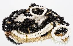 Vintage beads on background Stock Photos