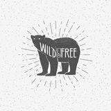 Vintage bear with Wild and Free quote Royalty Free Stock Photos
