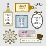 Vintage beard text box, banner, and tag set. In grey background Royalty Free Stock Images