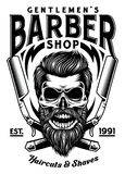 Vintage Bearded Barber Skull With Crossed Razors. Fully editable vector illustration of vintage bearded barber skull with crossed razors image suitable for logo royalty free illustration