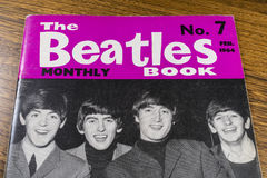 Vintage Beatles Monthly Book. LONDON, UK - JANUARY 13TH 2017: Close-up shot of issue number 7 of The Beatles Monthly Book, issued in February 1964, placed on a stock photos