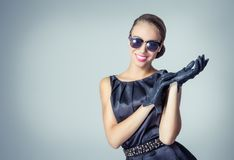 Vintage beautiful fashion girl with sunglasses Stock Image
