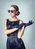 Vintage beautiful fashion girl with sunglasses Stock Images