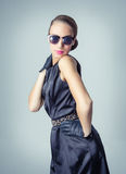 Vintage beautiful fashion girl with sunglasses Royalty Free Stock Photo