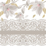Vintage Beautiful Floral Card with delicate lace pattern Stock Photo