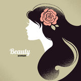 Vintage beautiful girl silhouette Stock Image