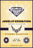 Vintage Beautiful Jewelry Exhibition Poster. With expensive diamond necklace and brooches vector illustration Royalty Free Stock Images