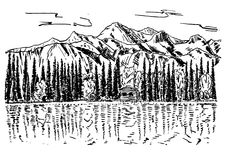 Vintage beautiful nature background vector ink hand drawn illustration. Sketch lake house, fir trees and mountain rocks Stock Photography