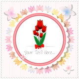 Vintage beautiful pink tulip card or background. Vector illustration Royalty Free Stock Photos