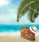 Vintage beautiful seaside background with suitcase Royalty Free Stock Photography