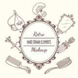 Vintage beauty frame. With hairbrush and mirror, perfume and hairpin. Fashion  vector illustration Royalty Free Stock Photo