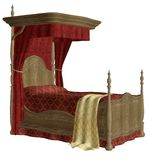Vintage bed 2. 3D render of a red vintage bed Royalty Free Stock Photography