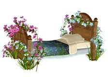Vintage bed with flowers Royalty Free Stock Images