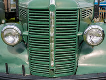 Vintage Bedford Truck. Closeup of the front of a restored green vintage Bedford truck Royalty Free Stock Photos