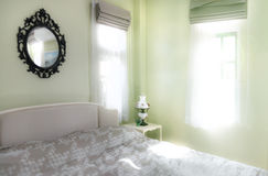 Vintage bedroom interior, Lighting with sun flare Royalty Free Stock Photos