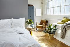 Vintage bedroom morning light industrial loft Royalty Free Stock Photography