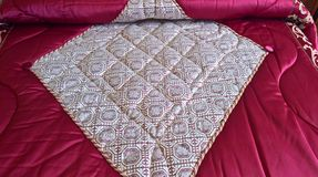 Vintage bedspread. Calitri, Avellino, Campania, Italy - May 26, 2017: Bedspread embellished with a crochet embroidery Stock Photography