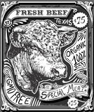Vintage Beef Advertising Page on Blackboard Stock Photography