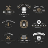 Vintage beer brewery logos, emblems, labels Stock Photo