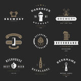 Vintage beer brewery logos, emblems, labels Stock Images