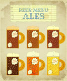 Vintage Beer Card. Ales Royalty Free Stock Photography