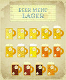 Vintage Beer Card. Lager. Stock Photography