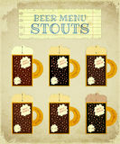 Vintage Beer Card. Stouts. Royalty Free Stock Images