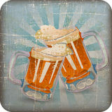Vintage beer clink glasses with Grunge Effect Stock Photography