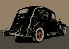 Vintage beer delivery car. Vector illustration Royalty Free Stock Photography