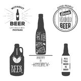 Vintage beer emblems, labels and design elements. Typography illustrations. For example, it can be printed on t-shirts Stock Photos