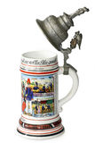 Vintage beer jug. A traditional German military beer jug the with silver lid isolated on white background Stock Photos