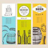 Vintage beer list for bar or brewery. Pub menu. banners set. drawn in ink Royalty Free Stock Images