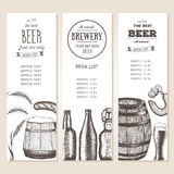 Vintage beer list for bar or brewery. Pub menu. banners set drawn in ink Royalty Free Stock Images