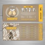 Vintage beer menu design on cardboard background. Vintage beer menu design on cardboard stock illustration