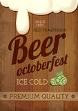 Vintage Beer octoberfest poster. Wooden background Royalty Free Stock Photos