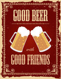 Vintage beer poster. With grunge effects Stock Photography