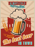 Vintage Beer Poster. Retro vector banner with a beer. Vintage poster template for cold beer. Retro label or banner design Stock Image