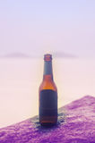 Vintage beer on the rock. And blur background Royalty Free Stock Image