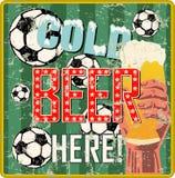 Vintage beer sign or sports bar / pub signage w. soccer balls. Vvintage beer sign or sports bar / pub signage w. soccer balls, vector illustration, fictional stock illustration