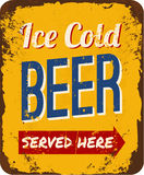Vintage Beer Tin Sign. Vintage metal sign Ice Cold Beer Served Here Stock Images